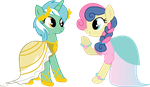 Lyra and BonBon's Gala Dresses by LottaPotatoSalad