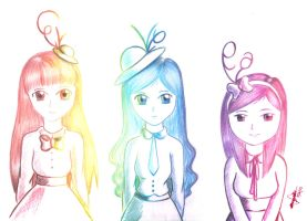 3 Girls Representing Their Favorite Colors by errisirre