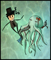 The stickman and his octopus by Emsoble