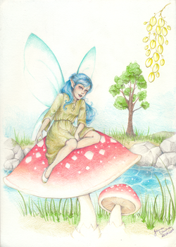 A fairy who likes frogs (April/2014) by juhcashew