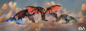 Mighty Dragons of the War of the Ancients by Vaanel