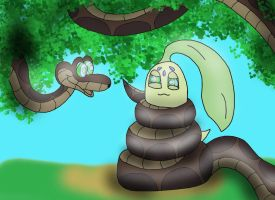 Kaa Captures Chikorita by Kiniun-Latios