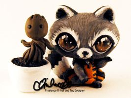 Rocket and Groot custom LPS toys by thatg33kgirl