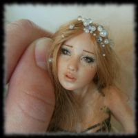 16 Spring Fairy sculpture ooak, 1 inch head by Rosen-Garden