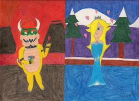 Bowser and Rosalina - Fire and Ice by daisyplayer1