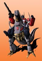 Optimus-Prime-riding-on-Grimlock by VZMk2