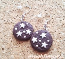 Chocolate Cookies with Stars Earrings by mashlimaro