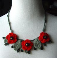 Crochet Red Poppies Necklace by meekssandygirl