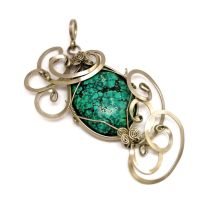 Wire Wrapped Pendant with Turquoise stone by hyppiechic