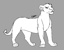 Lioness Lineart by Huskelana