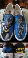 Batman and Nightwing Shoes by ChemicallyUsed