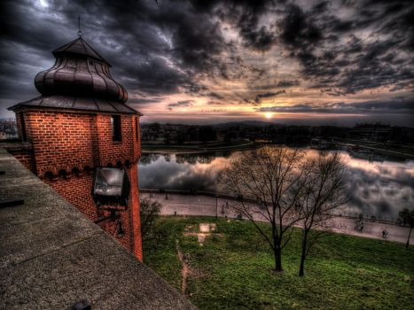 Sunset from Wawel by kubica