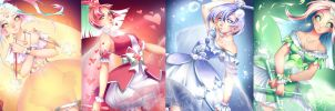 Magical Girls - Star-Heart-Pearl-Leaf by rika-dono