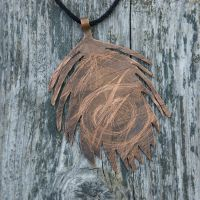Copper Peacock Feather Pendant by feynico