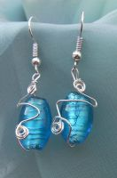 Wire Wrapped Blue Foil Bead Earrings 2 by cunningcatcrafts