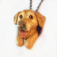 Golden Retriever Pop-Out Necklace by LeiliaClay