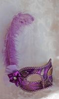 Purple Brocade Masquerade Mask Ostrich Plume by DaraGallery