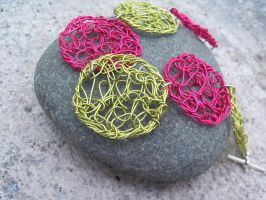 Pink and Lime Bracelet by SioniWinwns