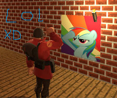 soldier salutes rainbow dash tf2 by Sithian