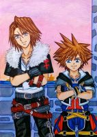 Kingdom Hearts II: Squall/Leon and Sora by dagga19
