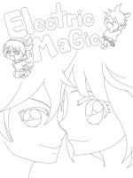 [Lineart] Electric Magic (Kagamine Rin/ Len) by LirelusCheshire