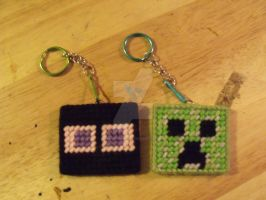 minecraft creeper and enderman keychain sprites by Random-Hero13