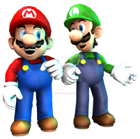 Mario and Luigi 3D Render by RatchetMario
