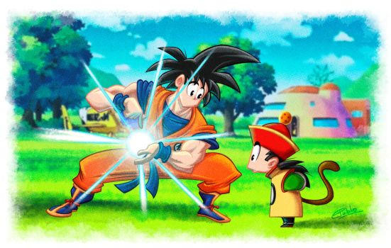 Goku and son by andretapol