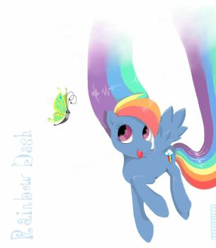 Rainbow Dash and Butterfly by Anastasia209