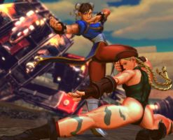 SFxTK-Cammy-Chun-Li-superattack by CharasColor