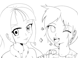 BFFL's(line art) by KawaiiAngel23
