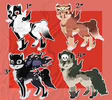 Okami style wolves 2 - 4/4 OPEN by SolarGem