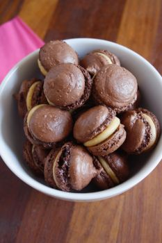 Chocolate and Peanut Butter Macarons by behindthesofa