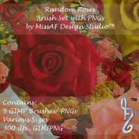 Random Roses Brush Set with PNGs Included by MissAFDesignStudio