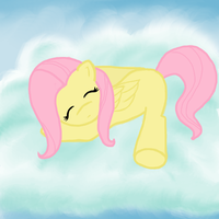 Fluttershy snoozing in the clouds by KawaiiPetitPois