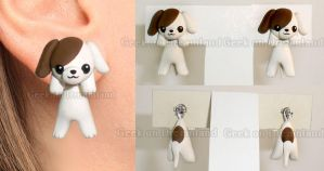 Dog clinging earrings by GeekOnDreamland