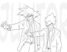 Gokou and Vegeta Sample 2014 commission concept by LordFreeza