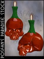 Skull w/Candle 004 by poserfan-stock