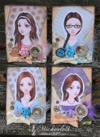 41. - 44. ACEO - Vintage portraits set 3 by Michaela9