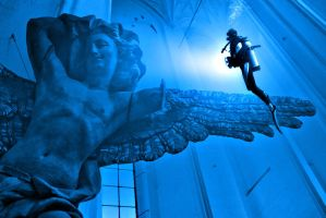 Diver and Statue by tkrewson