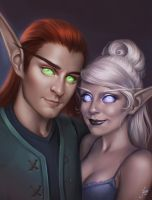 Commission: Lindissan and Alakinziliel by JuneJenssen