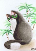 Serious cat watercolour by KingZoidLord
