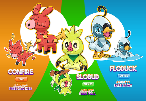 ALL-NEW STARTER POKEMON by BrasioPkmn