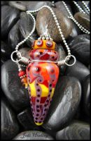 Brazilian Sunset - Glass Lampwork Bottle Pendant by andromeda