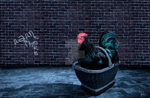 the only rooster at the party by Helz-Design