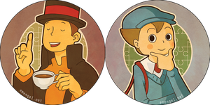 Professor Layton and Luke Buttons by emengel