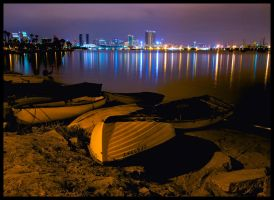 San Diego Night Scene - Boats by JoeBostonPhotography