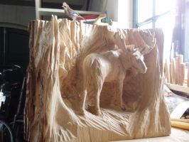 Moose in progress 8 by woodcarve