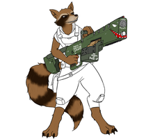 Rocket Raccoon WIP by livinlovindude
