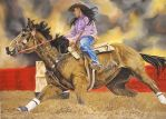 Barrel Racing Horse - Pastel by Aleerakz